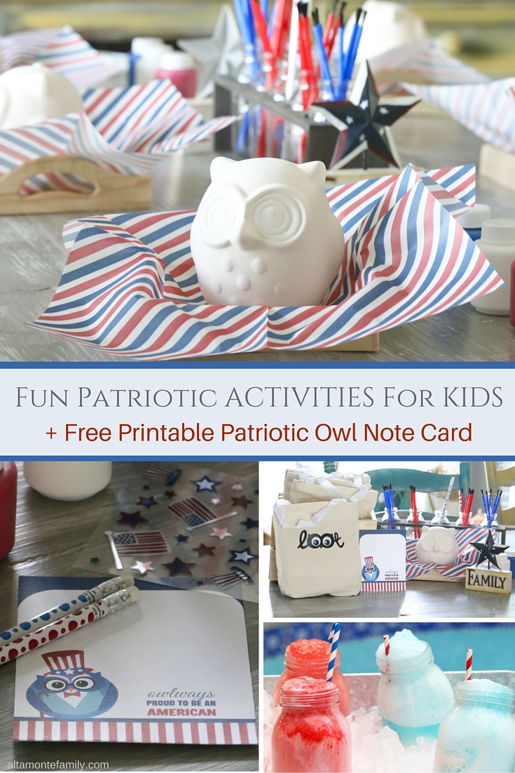 Fun Patriotic Activities for Kids Free Printable Owl Note Card