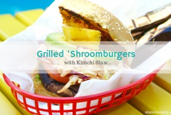 Grilled 'Shroomburgers With Kimchi Slaw