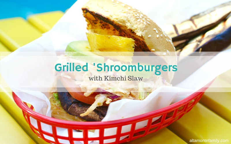 Grilled Shroomburgers with Kimchi Slaw - Summer Grilling Recipe Ideas