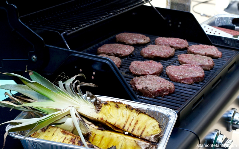 Grilled Pineapples and Hamburgers
