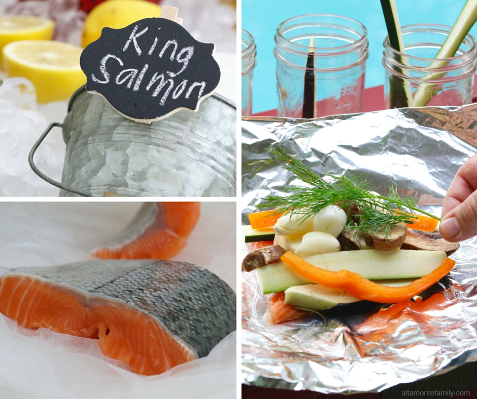 Mix and Match Seafood Foil Packets - King Salmon - BBQ Party Ideas