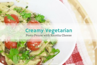 One-Pan Creamy Vegetarian Pesto Penne With Ricotta Cheese
