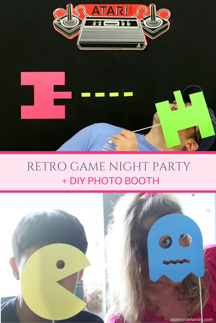 Retro Game Night Party Ideas - DIY Photo Booth 80s Arcade Theme