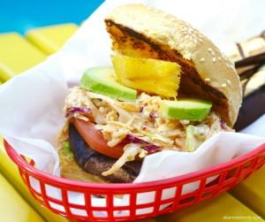 Grilled Shroomburger - Portobello Mushrooms with Pineapple and Kimchi Slaw
