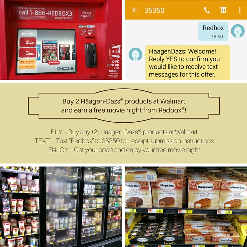 Haagen-Dazs Redbox Walmart Free Movie Offer