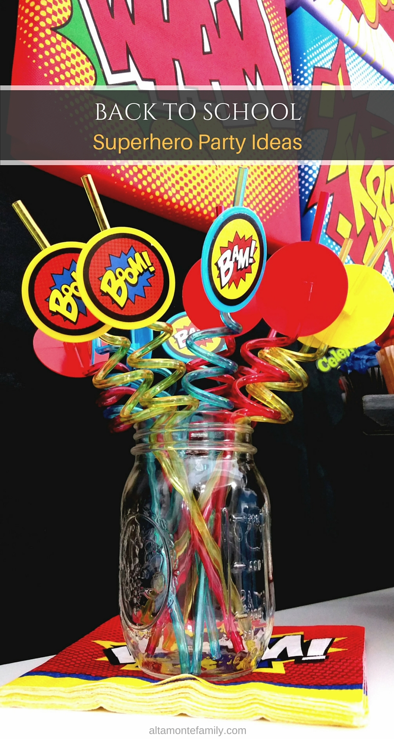 Superhero Party Ideas - Straws - Mason Jar