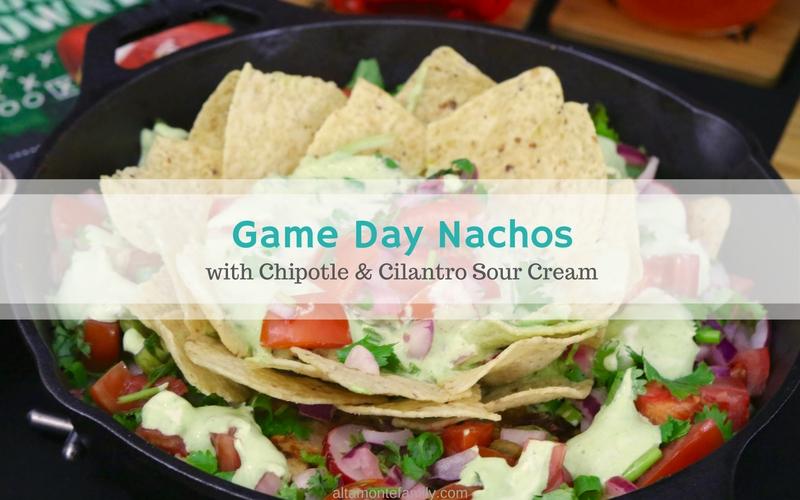 ultimate game day nachos w/ chipotle  cilantro sour cream