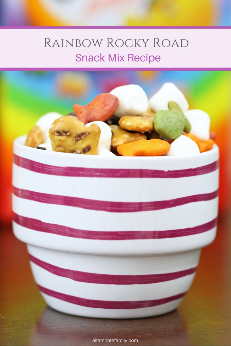 Rainbow Rocky Road Snack Mix Goldfish Cracker Recipe for Kids