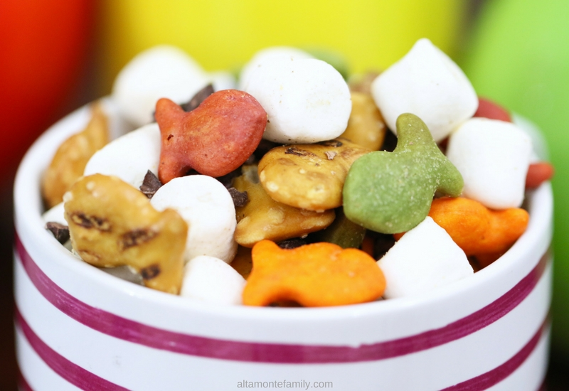 Rainbow Rocky Road Snack Mix Goldfish Crackers Recipe Ideas for Kids