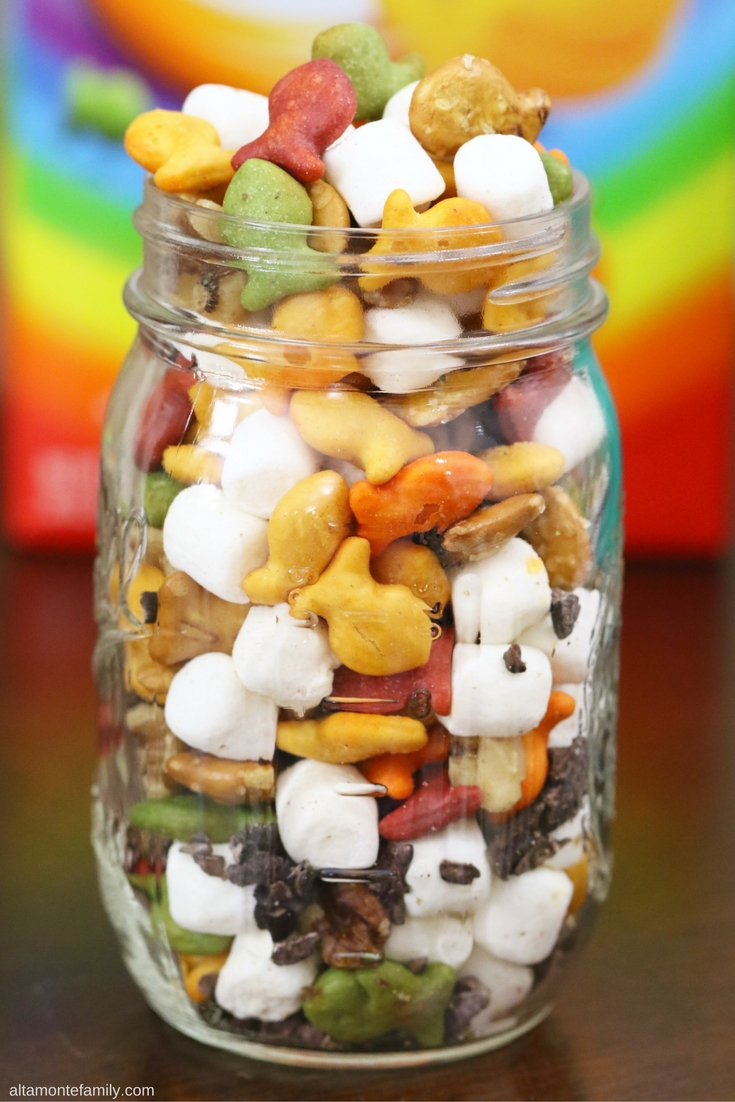 Rainbow Rocy Road Trail Mix - Goldfish Crackers Marshmallows Chocolate Recipe