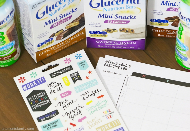 Fitness Planner Stickers - Weekly Food Exercise Log - Diabetes Management