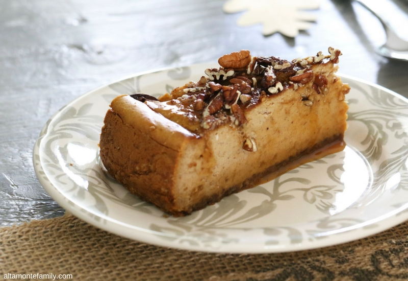 Pumpkin Caramel Cheesecake with Toasted Pecans