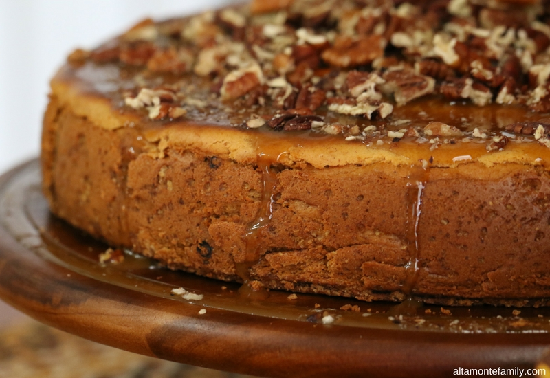 Pumpkin Cheesecake Recipe with Toasted Pecans and Caramel Glaze