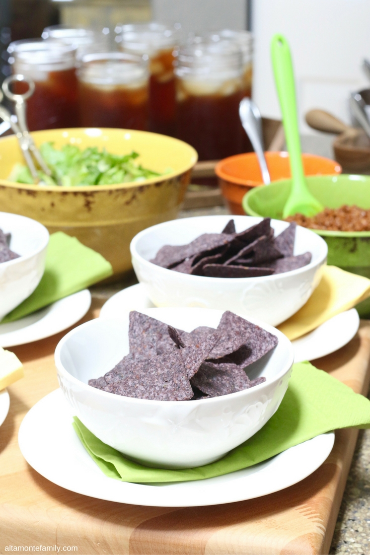 Taco Bar with Blue Corn Chips