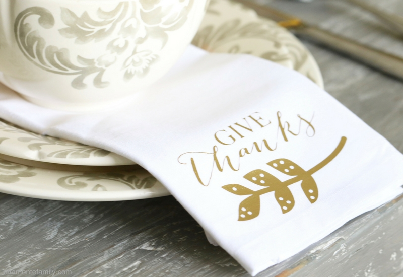 Thanksgiving Tablescape - Fall Harvest Table Napkins - Give Thanks - Cricut Explore Iron-On Vinyl Project