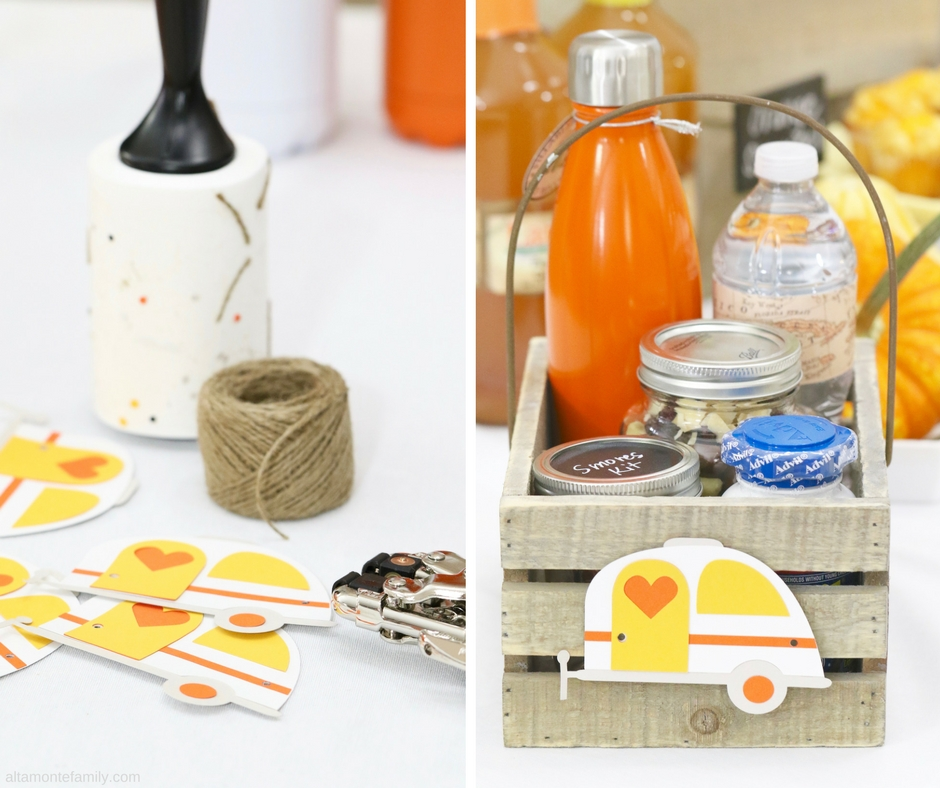 Cricut Explore Air Project Ideas - Vintage Camper Gift Basket Party Favor