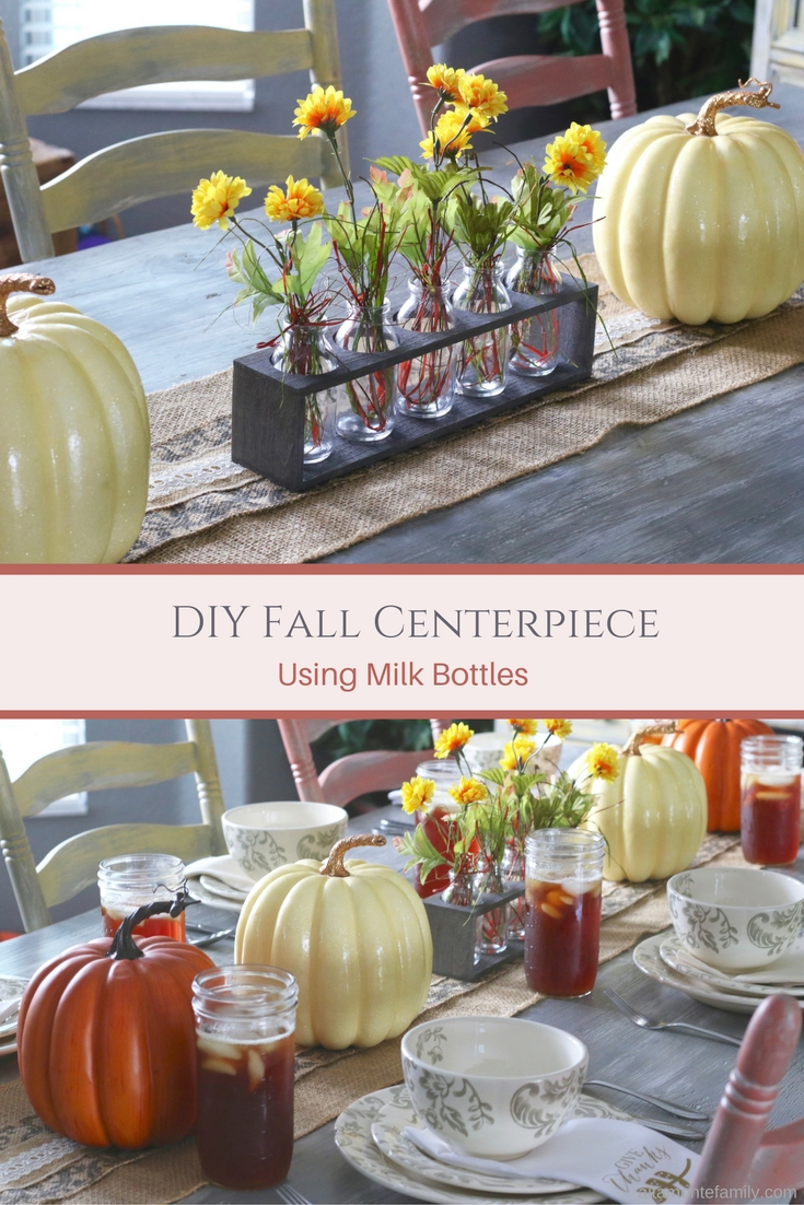 DIY Fall Centerpiece - Thanksgiving - Milk Bottles