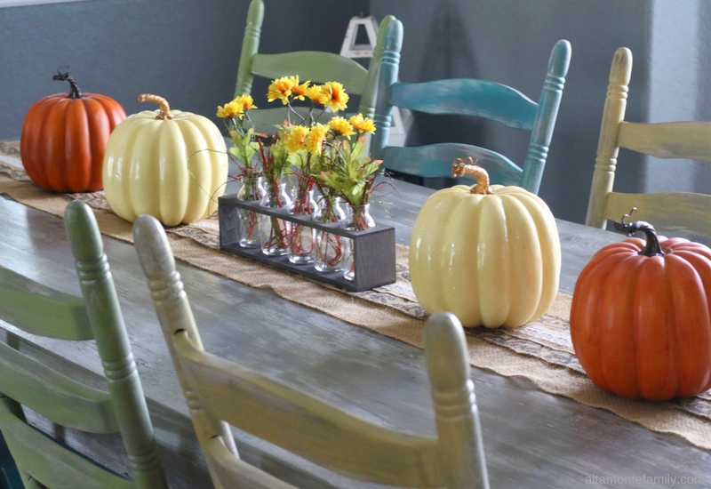 DIY Fall Centerpiece Using Milk Bottles