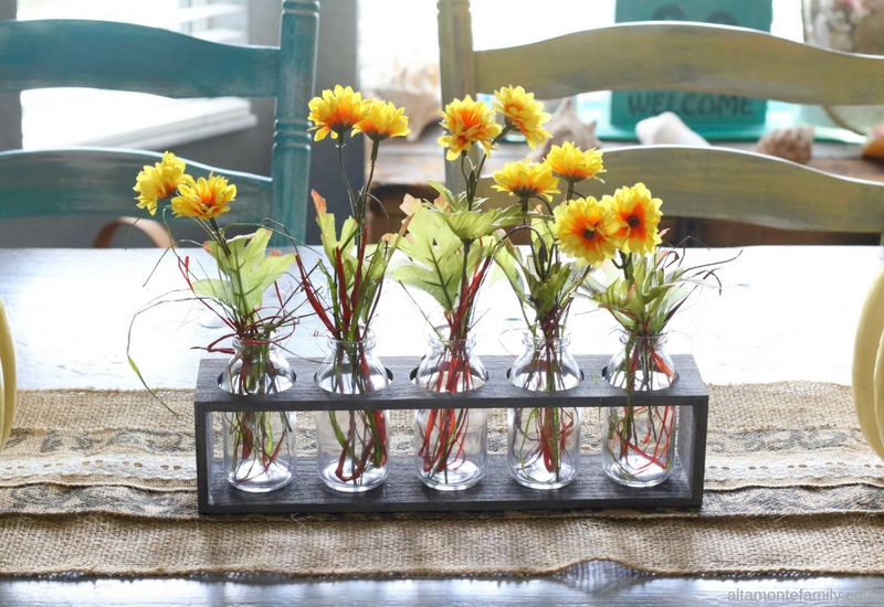DIY Fall Centerpiece Made with Milk Bottles