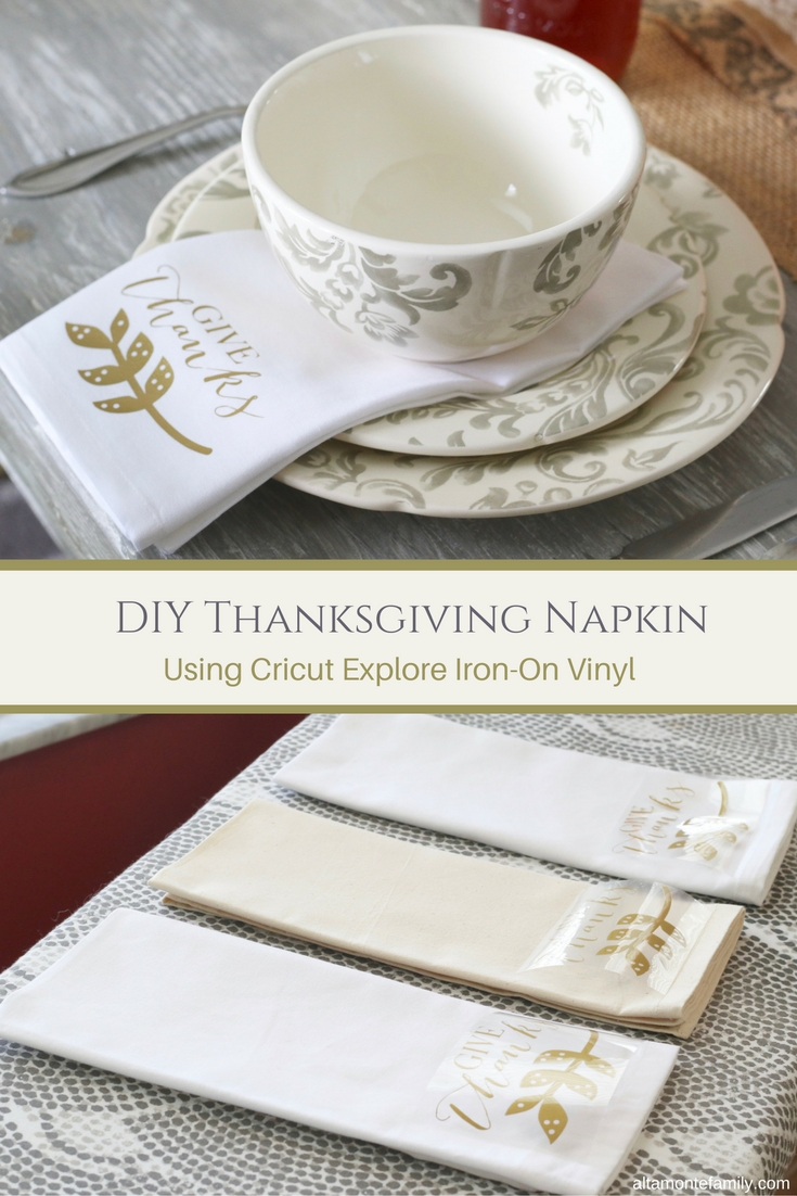 DIY Thanksgiving Napkin - Cricut Explore Air Iron-On Vinyl Tutorial