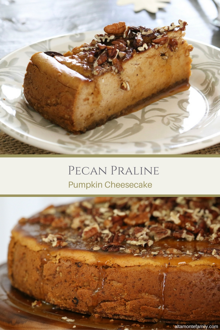 Pecan Praline Pumpkin Cheesecake Recipe with Caramel Glaze - Fall Autumn Dessert Ideas