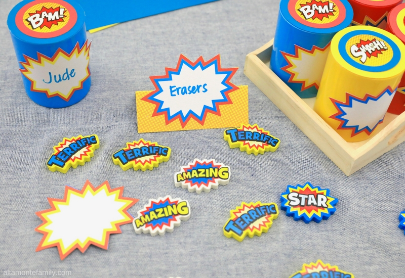 DIY Superhero Party Favor Ideas - Erasers