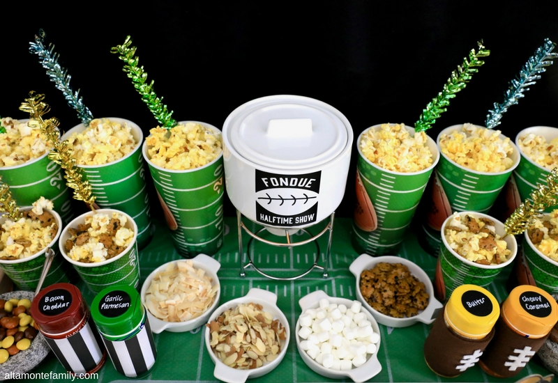 Football Snack Stadium Popcorn Fondue Party Ideas