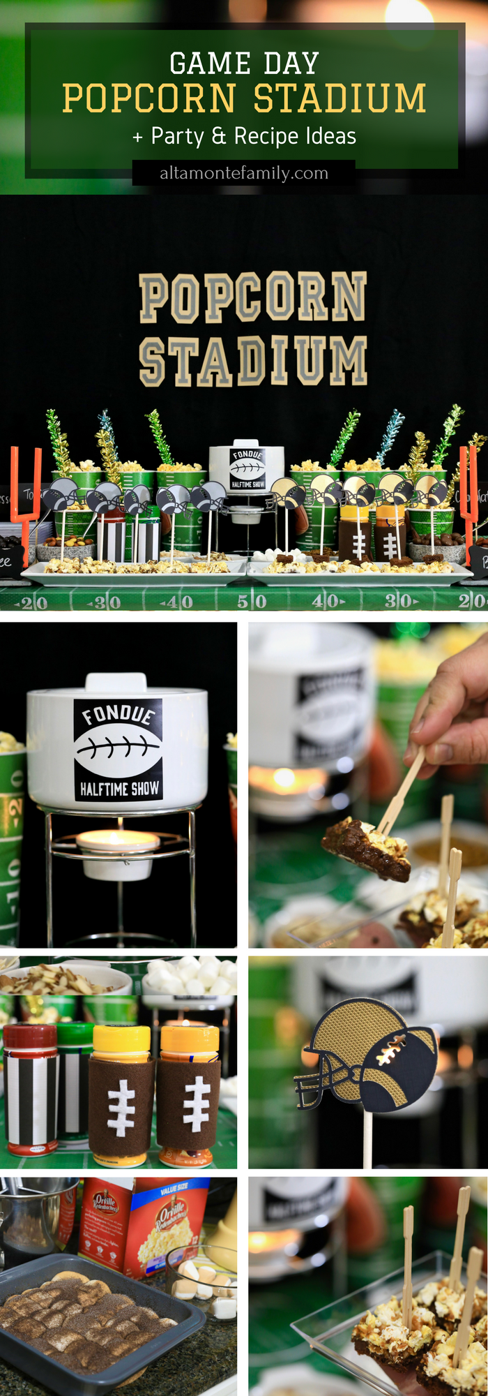 Game Day Popcorn Fondue Stadium and Football Party Ideas