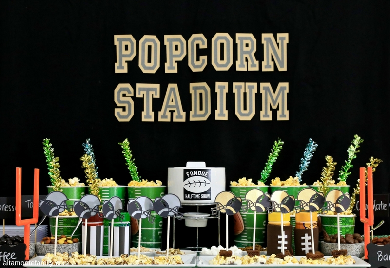 Game Day Party Ideas - Football Popcorn Snack Stadium