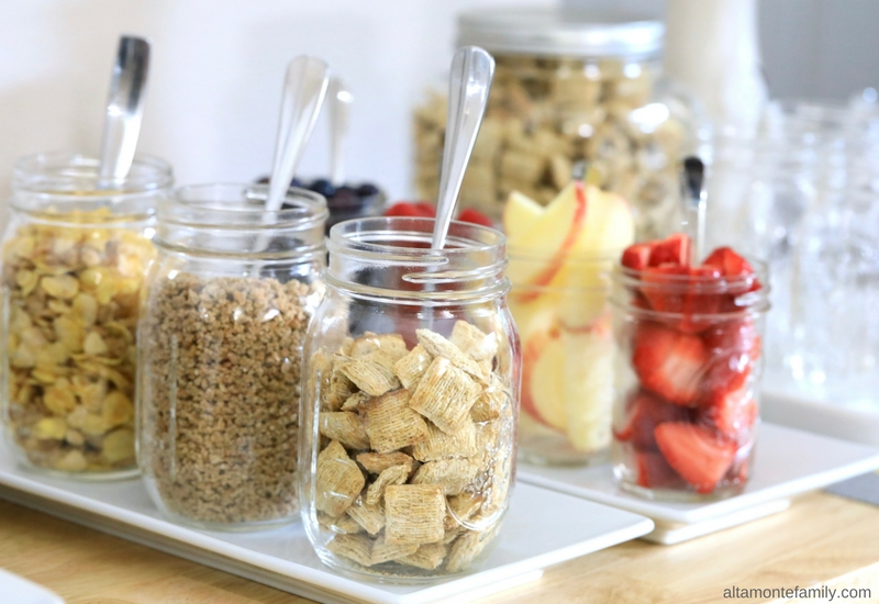 Waffle Bar Toppings Ideas - Cereal and Fresh Fruit