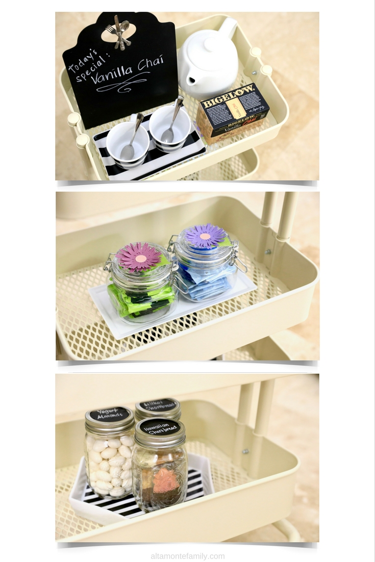 DIY Tea Cart Snack Storage Ideas