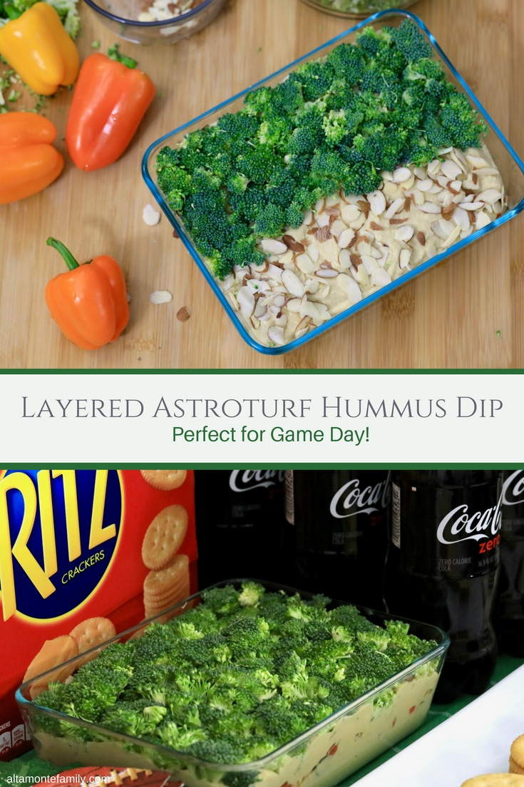Game Day Recipe Ideas - Layered Astroturf Broccoli Hummus Dip