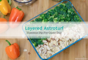 Layered Astroturf Broccoli Hummus Dip For Game Day