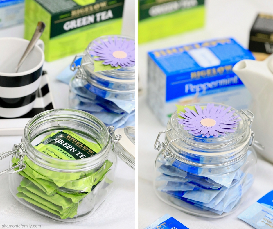 Mason Jar Tea Storage Ideas - Cricut Explore Projects - Paper Flower Toppers