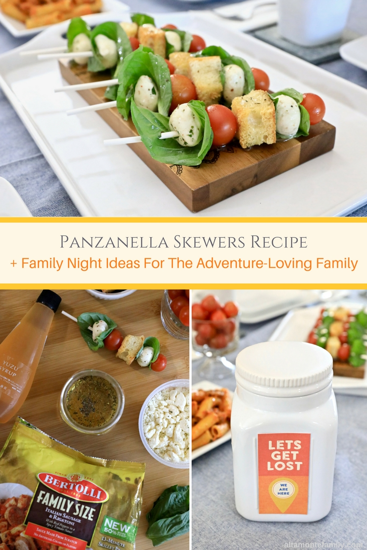Panzanella Skewers Recipe with Yuzu Vinaigrette and Family Night Ideas For The Adventure Loving Family