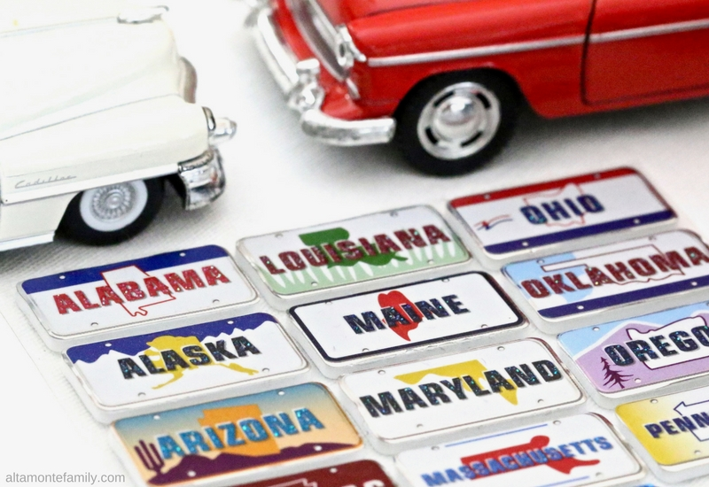 Road Trip State License Plate Stickers - Boredom Busters and Games For Young Children