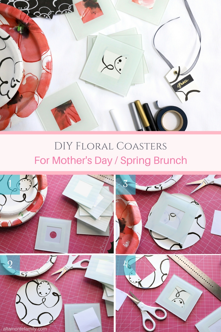 DIY Floral Coasters Mothers Day Spring Brunch Party Ideas - Poppies - Red White and Black Theme