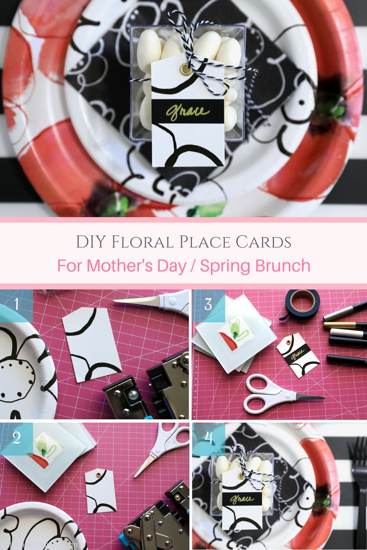 DIY Floral Place Cards - Mothers Day Spring Brunch - Poppies - Red White and Black Theme