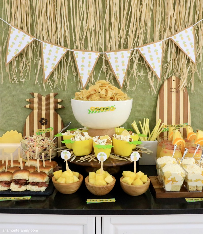 Hawaiian Luau Party Decor and Food Ideas - Pineapple Plantation Theme