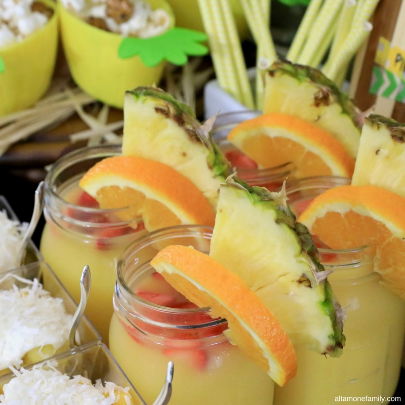 Luau Party Food Ideas - Hawaiian Drink and Decor - Mason Jar
