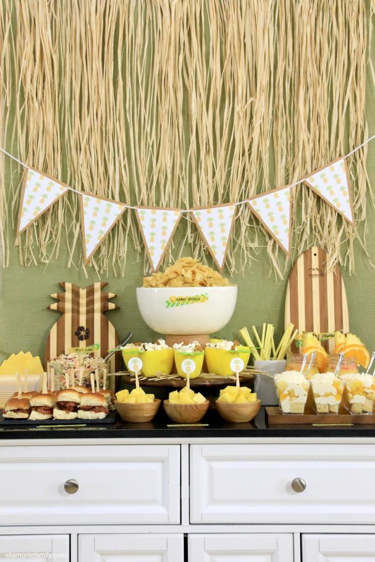 Luau Party Ideas for Family Movie Night - Hawaiian Food and Decor