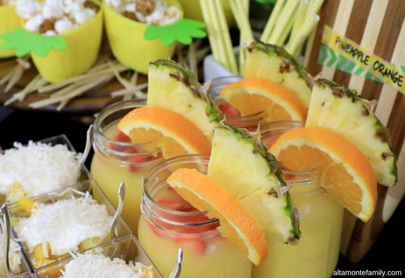 Luau Party Ideas - Hawaiian Food and Decor - Pineapple Orange Drinks