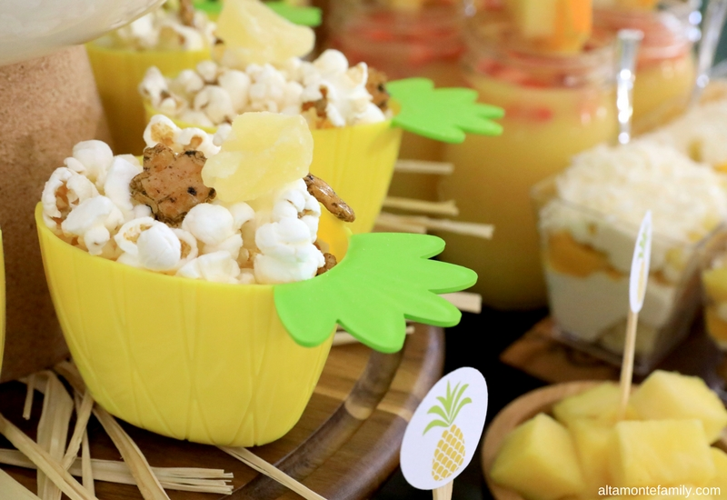 Luau Party Ideas - Hawaiian Food and Decor - Island-Style Popcorn with Kaki Mochi Japanese Rice Crackers