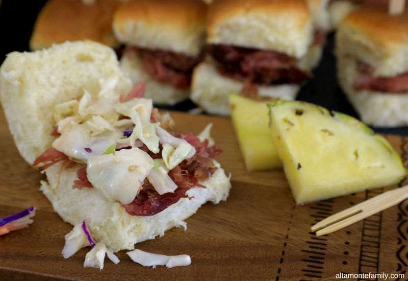 Luau Party Ideas - Hawaiian Food and Decor - Kalua Pig Sliders with Spicy Asian Slaw