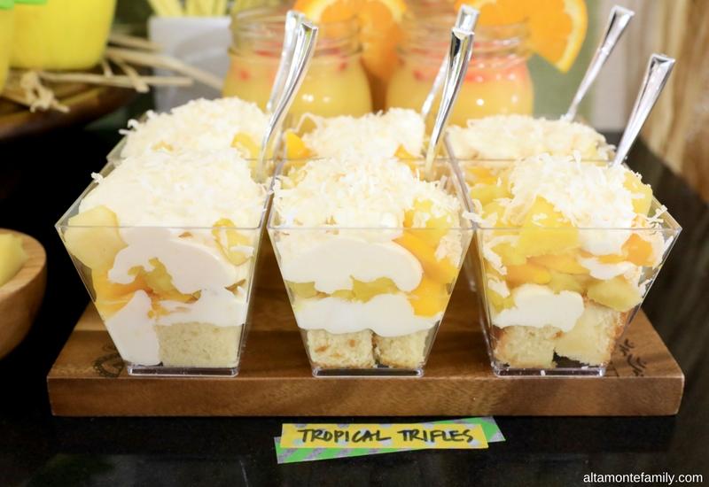 Luau Party Ideas - Hawaiian Food and Decor - Tropical Fruit Trifle No Sugar Added Recipe