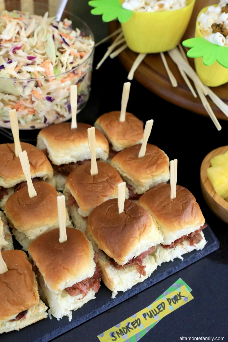 luau party decor ideas + homemade pulled pork sliders