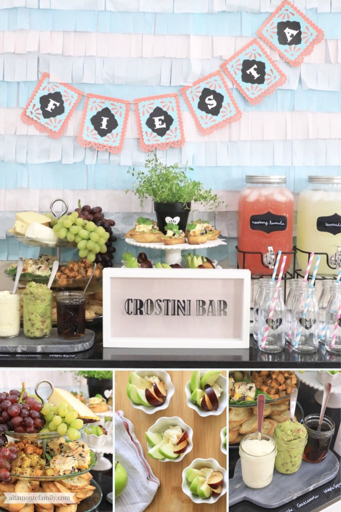 Crostini Bar Ideas - Spring Brunch Fiesta - Mother's Day - Pastel Theme