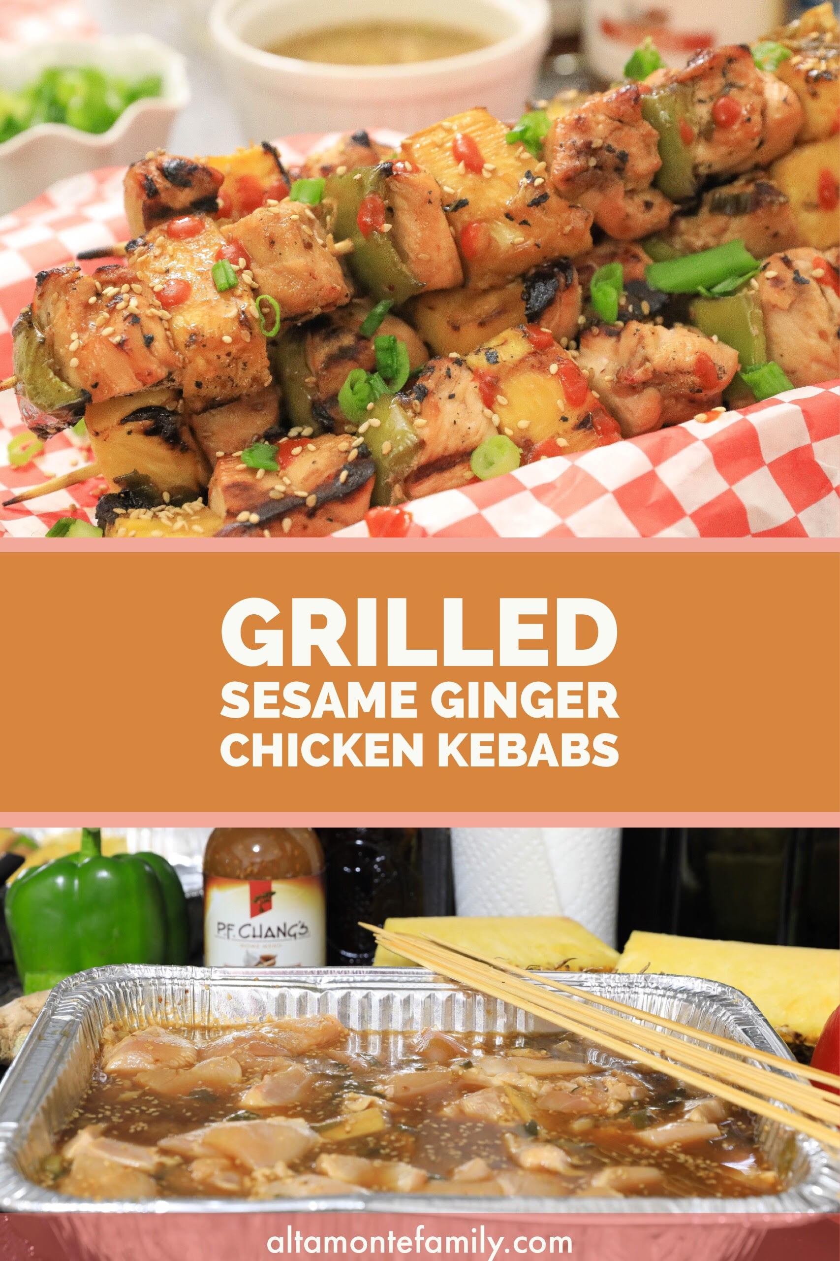 Grilled Sesame Ginger Chicken Kebabs - Asian BBQ Recipes - Summer