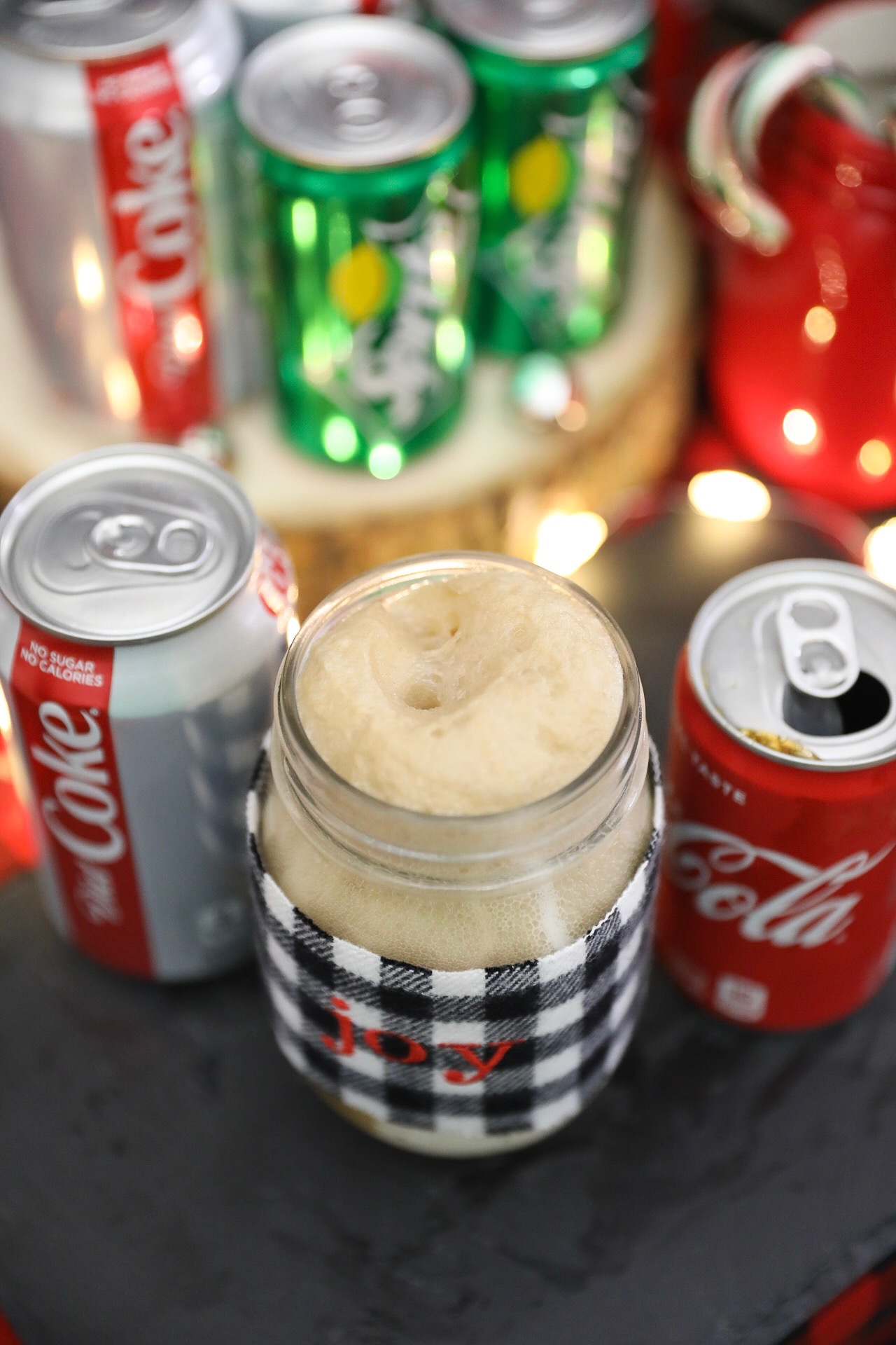 Christmas Ice Cream Float Recipe Ideas - Classic Coke Float with Ginger Snap Cookie Topping