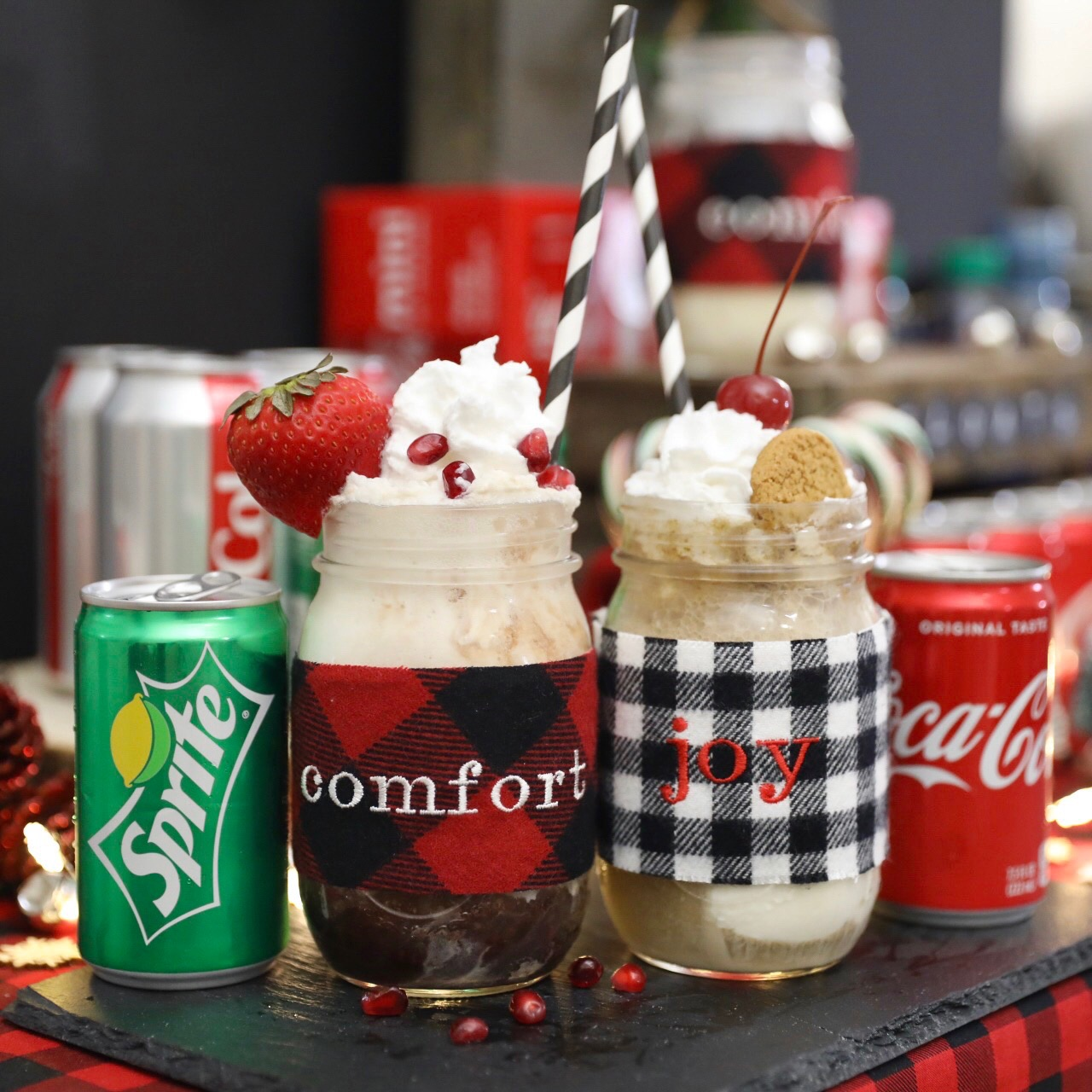 Christmas Ice Cream Float Recipes - Coke Float - Pomegranate Strawberry Ice Cream Float Recipe